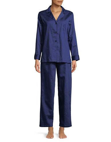 Lauren Ralph Lauren Two-Piece Notch Pyjama Set-BLUE-Small