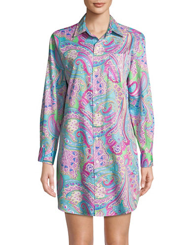 Lauren Ralph Lauren Paisley Cotton Sleepshirt-MULTI-X-Large