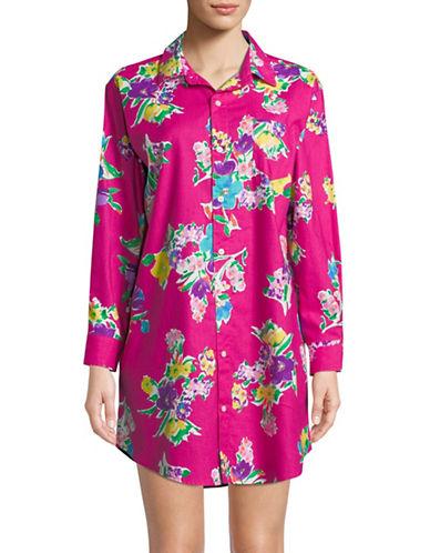 Lauren Ralph Lauren Floral Long-Sleeve Sleepshirt-PINK FLORAL-X-Large