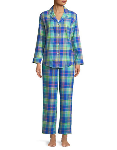 Lauren Ralph Lauren Multi-Plaid Cotton Pyjamas-BLUE-Small