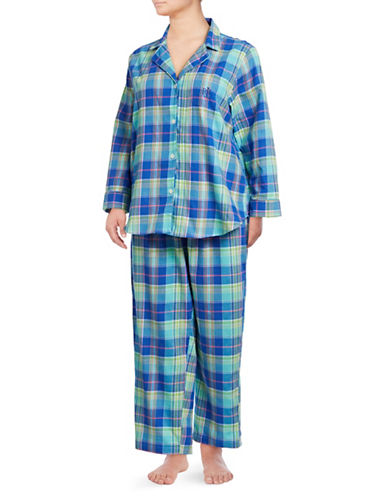 Lauren Ralph Lauren Plus Plaid Notch Pajama Set-BLUE-3X