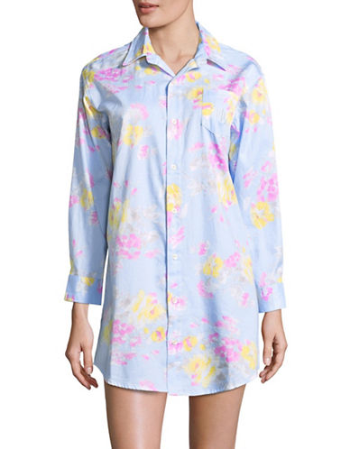 Lauren Ralph Lauren Floral Cotton Button-Down Shirt-BLUE FLORAL-Large