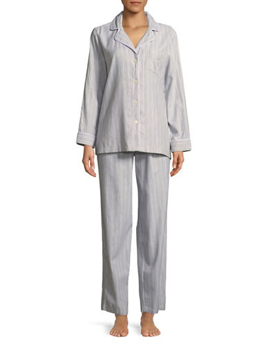 Lauren Ralph Lauren Striped Cotton Pyjama Set-GREY STRIPE-Small