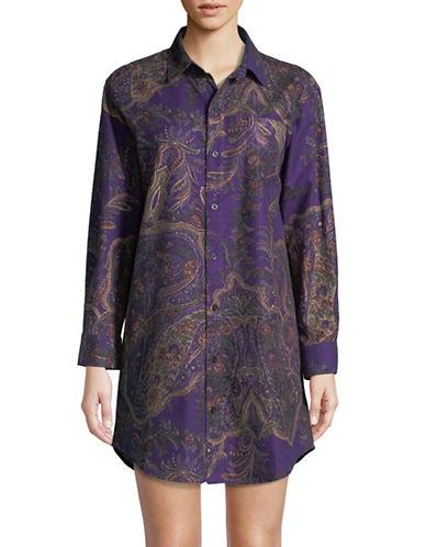 Lauren Ralph Lauren Plaid Long Sleeve Sleepshirt-PURPLE PAISLEY-Medium