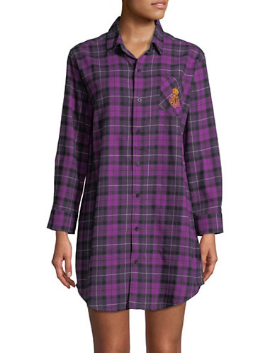 Lauren Ralph Lauren Plaid Long Sleeve Sleepshirt-PURPLE PLAID-X-Small