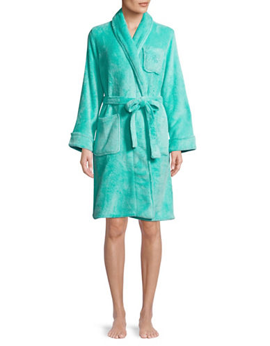 Lauren Ralph Lauren Shawl Collar Short Robe-BLUE-Small