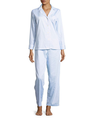 Lauren Ralph Lauren Notch Collar Striped Cotton Pyjamas-BLUE STRIPE-X-Large