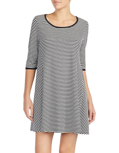 Kate Spade New York Striped Sleepshirt-BLACK STRIPE-Small