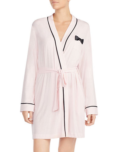 Kate Spade New York Bow and Contrast Piped Short Robe-ROSE-Medium