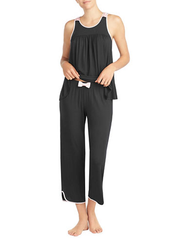 Kate Spade New York Two-Piece Capri Pajama Set-BLACK-Small