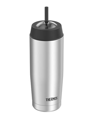 Thermos Vacuum Insulated Stainless Steel Cold Cup with Straw 530ml-SILVER-One Size 88325885_SILVER_One Size