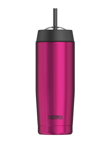 Thermos Vacuum Insulated Stainless Steel Cold Cup with Straw 530ml-PINK-One Size 88325988_PINK_One Size