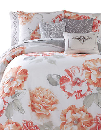 Jessica Simpson Peony Duvet Cover Set-CORAL-Queen