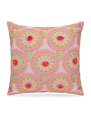 Jessica Simpson Medallion Crochet Cushion-PINK-16X16