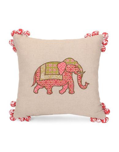 Jessica Simpson Elephant Medallion Pom Pom Cushion-PINK-One Size