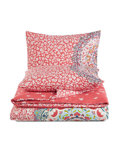 Jessica Simpson Amrita Medallion Duvet Cover Set-CORAL-Queen