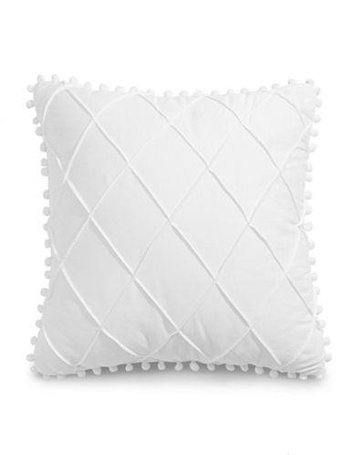 Jessica Simpson Pom-Pom Trim Cushion-WHITE-One Size