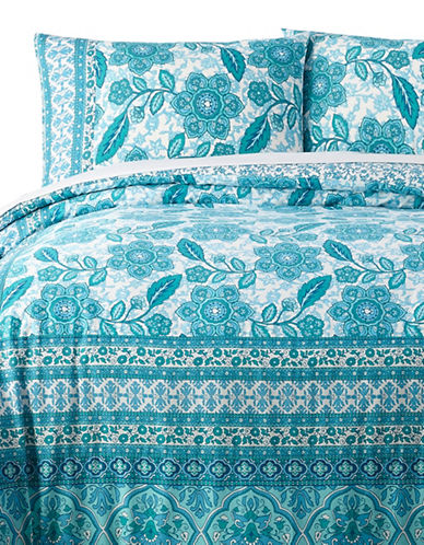 Jessica Simpson Floral Azul 140 Thread-Count Three-Piece Duvet Set-BLUE-King
