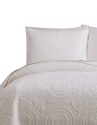 Jessica Simpson Medallion 140 Thread-Count Three-Piece Coverlet Set-WHITE-King