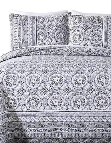 Jessica Simpson Mosaic Border 140 Thread-Count Three-Piece Quilt Set-GREY-King