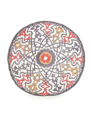 Jessica Simpson Puebla Round Cotton Throw Pillow-GREY MULTI-14x14