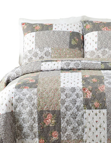 Jessica Simpson Floribunda Cotton Quilt Set-GREY-Queen