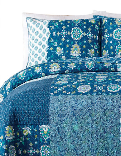 Jessica Simpson Murano Glass Cotton Quilt Set-BLUE-King