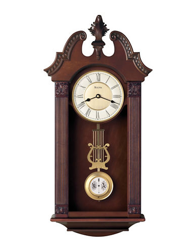 Bulova Ridgedale Carved Wood Pendulum Wall Clock-CHERRY-One Size