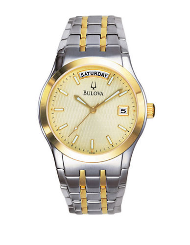 Bulova Mens Quartz Watch-TWO TONE-One Size