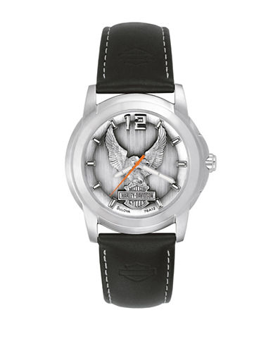 Harley Davidson Analog The Signature Collection Black Leather Strap Watch-BLACK-One Size