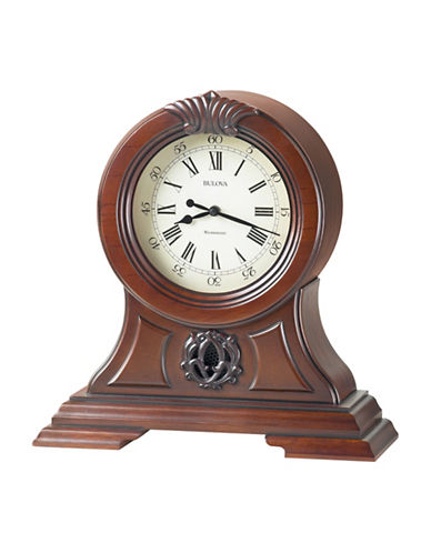 Bulova Bevelled Table and Mantel Clock-WALNUT-One Size