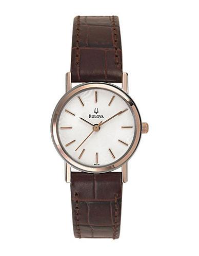 Bulova Quartz Watch-ROSE GOLD/BROWN-One Size