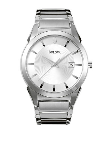 Bulova Mens Classic Stainless Steel Watch-SILVER-One Size