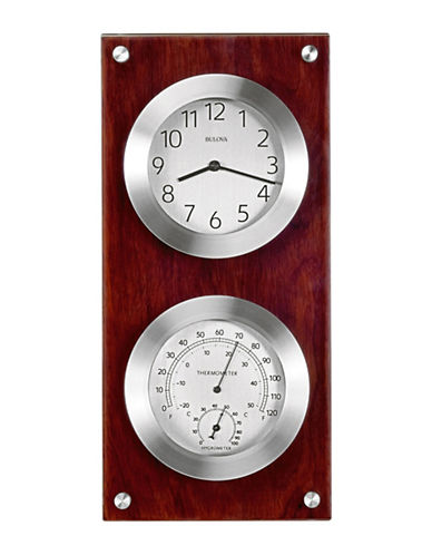 Bulova Mariner Wood Thermometer Clock-CHERRY-One Size