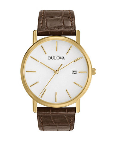 Bulova Analog Classic Collection Leather Strap Watch-BROWN-One Size