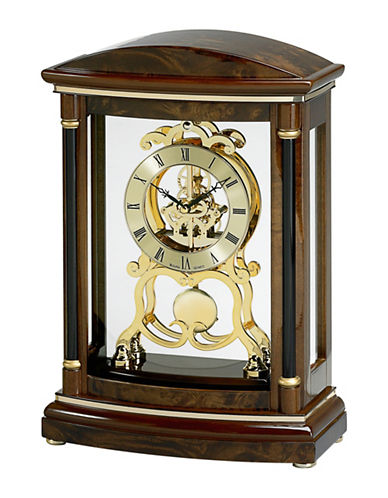 Bulova Valeria Wood Pendulum Skeleton Mantel Clock-CHERRY-One Size