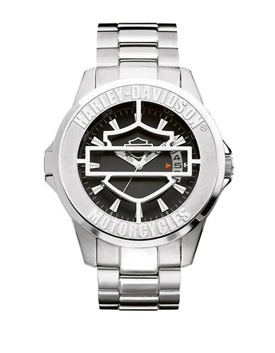 Harley Davidson Analog The Cover Watch Collection Bracelet Watch-SILVER-One Size