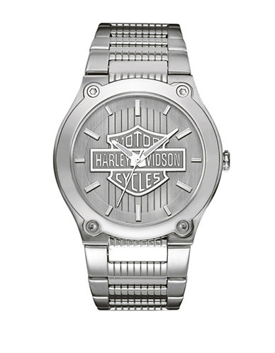Harley Davidson Analog The Signature Collection Stainless Steel Bracelet Watch-SILVER-One Size