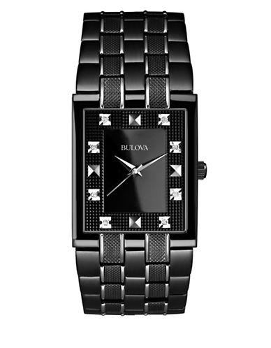 Bulova Analog Diamond Collection Black Rectangle Bracelet Watch with 0.03 TCW Diamonds-BLACK-One Size