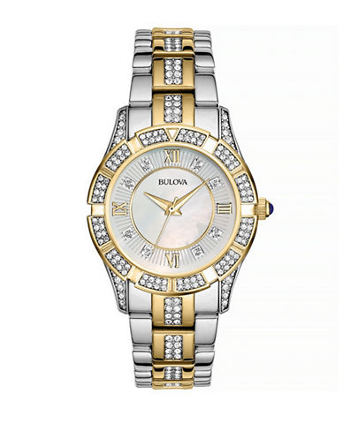 Bulova Pave Crystal and Mother-of-Pearl Stainless Steel Watch-TWO TONE-One Size