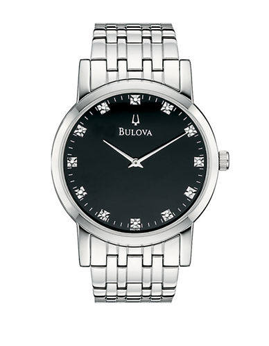 Bulova Mens Quartz Diamond Watch-SILVER/BLACK-One Size