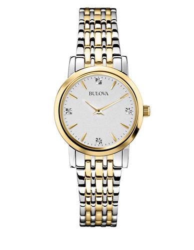 Bulova Analog Diamond Collection Silvertone and Goldtone Bracelet Watch with 0.01 TCW Diamonds-SILVER/GOLD-One Size