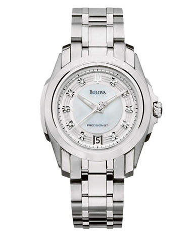 Bulova 0.05TCW Diamond Precisionist Collection Analog Stainless Steel Bracelet Watch-SILVER-One Size