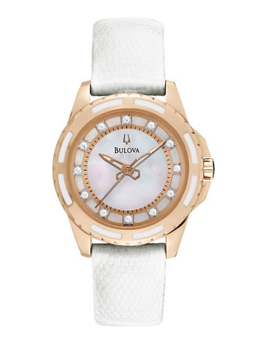 Bulova Quartz Watch-WHITE/ROSE GOLD-One Size