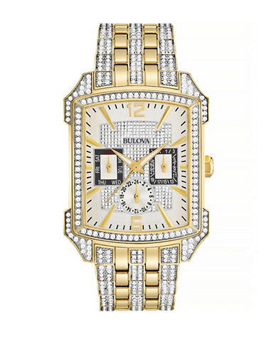 Bulova Pave Crystal Goldtone Stainless Steel Chronograph Watch-GOLD-One Size