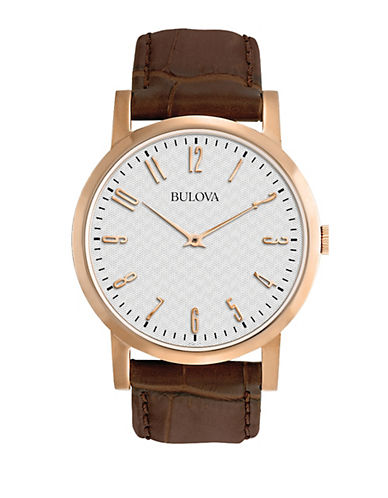 Bulova Analog Goldtone Leather Strap Dress Watch-BROWN-One Size