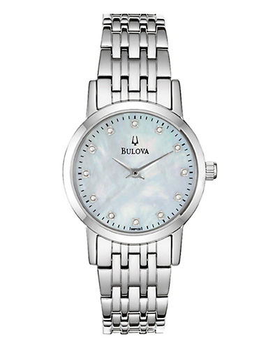 Bulova Women's Diamond Dress  MotherOfPearl, Elegant Thin Design Watch silver One Size