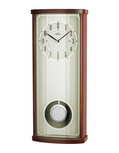Bulova Wood and Glass Rectangle Pendulum Wall Clock-BROWN-One Size