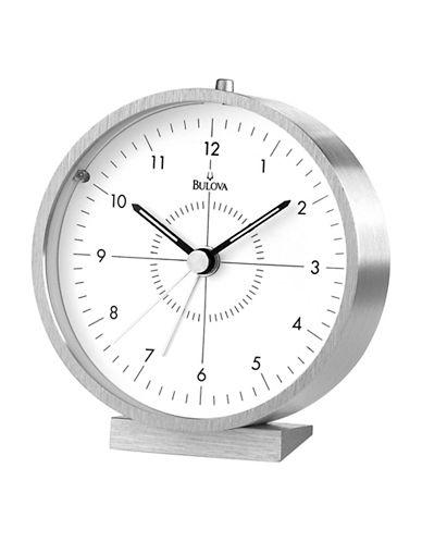 Bulova Aluminium Table and Mantel Clock-SILVER-One Size