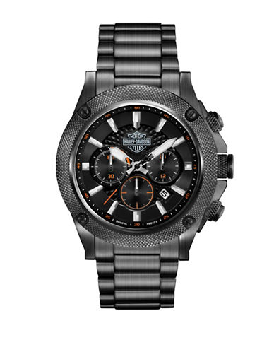 Harley Davidson Analog Core Collection Black Ion-Plated Stainless Steel Bracelet Watch-BLACK-One Size